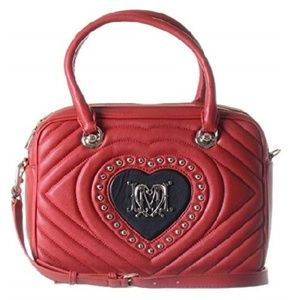 LOVE MOSCHINO RED HEART QUILTED CROSSBODY BAG